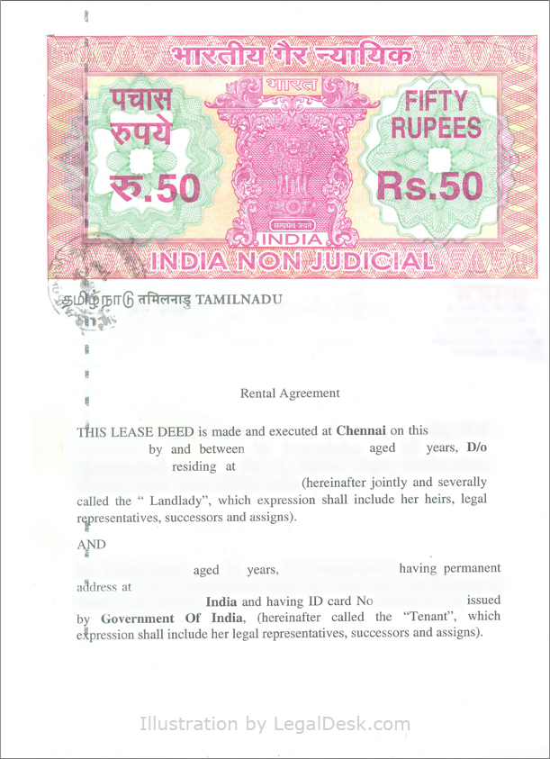 LegalDesk Rental Agreements for Chennai and Tamil Nadu – Basic Rental Agreement Letter Template