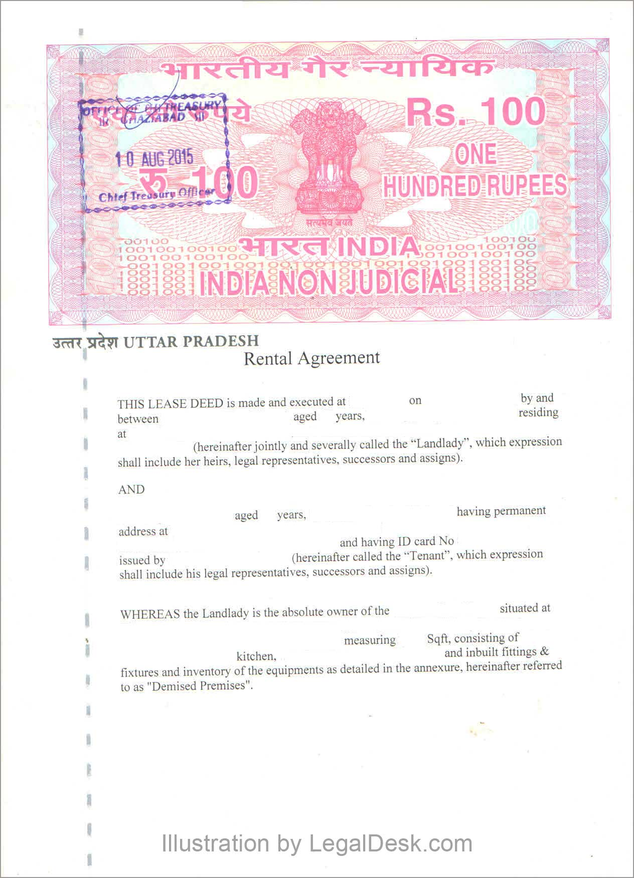 LegalDesk Creating A Rental Agreement In Noida Uttar Pradesh – Basic Rental Agreement Letter Template