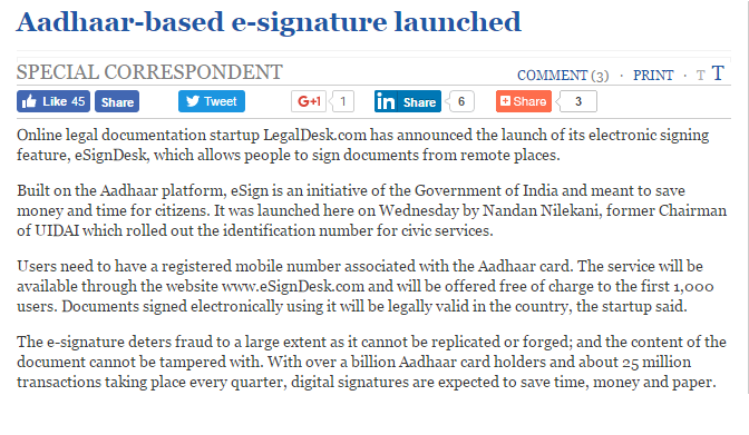 LegalDesk.com launch event covered by The Hindu