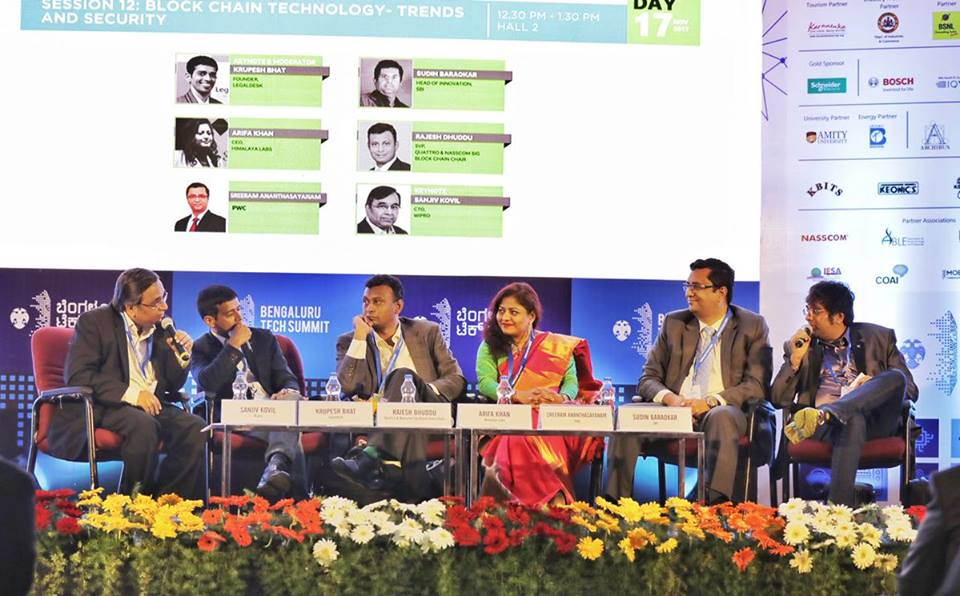 Mr.Krupesh Bhat, founder of Legaldesk.com at the Blockchain panel discussion in Bengaluru Tech Summit 2017