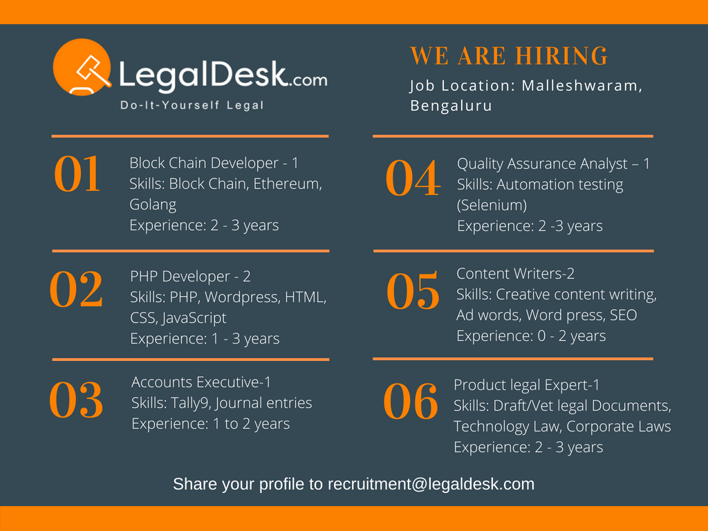 Job Opening at LegalDesk